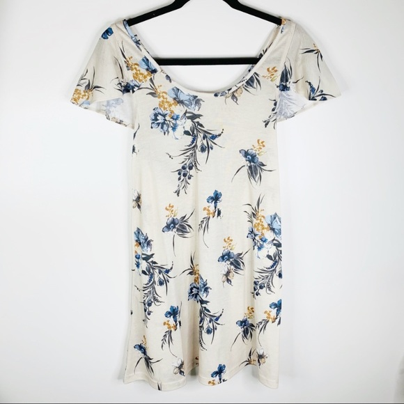 ASOS Dresses & Skirts - ASOS Off White Floral Cut Out Dress Size 2